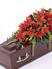 Lily and Rose Casket Spray - Red