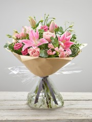 Pink Delight New Baby Hand-tied