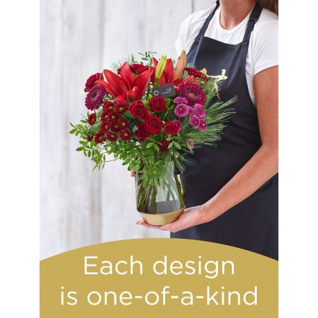 Christmas Hand-tied Bouquet and Vase £45