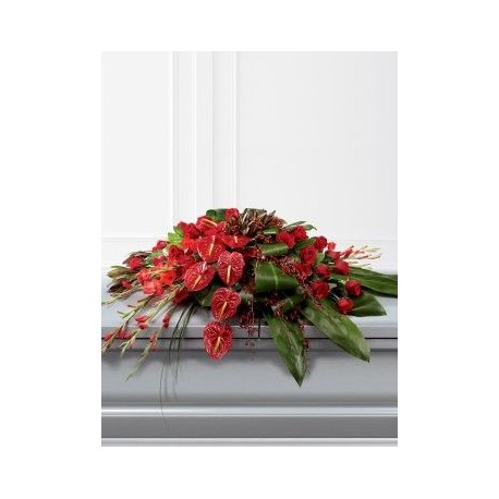 Rose, Orchid and Anthurium Casket Spray